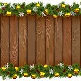 Vector Seamless Christmas Board with Golden Balls