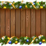 Vector Seamless Christmas Board with Golden Ribbon