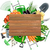 Vector Wooden Board with Garden Accessories