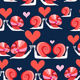 Seamless bright pattern of loving snails