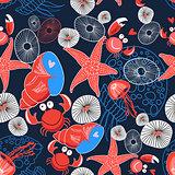 Seamless graphic marine pattern enamored crabs