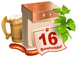 September 16, 2017 Oktoberfest. Beer festival symbols wooden beer mug, green leaves hop, tear-off calendar, fried sausages