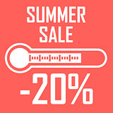 Special offer, summer discount in the form of a thermometer that shows twenty percent. Summer Sale. Illustration of thermometer