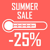 Special offer, summer discount in the form of a thermometer that shows twenty five percent. Summer Sale. Illustration of thermometer