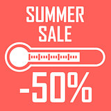 Special offer, summer discount in the form of a thermometer that shows fifty percent. Summer Sale. Illustration of thermometer