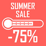 Special offer, summer discount in the form of a thermometer that shows seventy five percent. Summer Sale. Illustration of thermometer