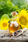 Organic sunflower oil in a small glass jar.