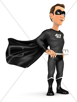 3d black hero standing with cape in the wind