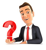 3d businessman presenting question mark