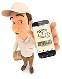 3d delivery man holding smartphone