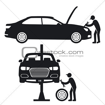 car repair with mechanic