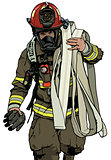Firefighter With Fire Hose