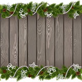 Vector Seamless Christmas Old Board with White Decorations
