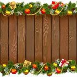 Vector Seamless Christmas Wooden Board