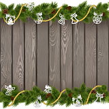Vector Seamless Christmas Old Board with Paper Decorations