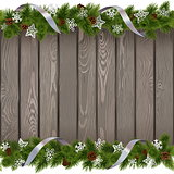 Vector Seamless Christmas Old Board with Paper Snowflakes