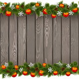 Vector Seamless Christmas Old Board with Red Balls