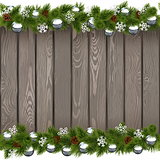 Vector Seamless Christmas Old Board with Silver Balls