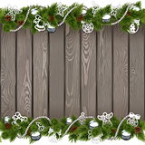 Vector Seamless Christmas Old Board with Silver Decorations
