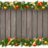 Vector Seamless Christmas Old Board with Decorations