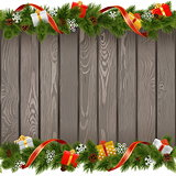 Vector Seamless Christmas Old Board with Gifts