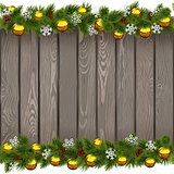 Vector Seamless Christmas Old Board with Golden Balls