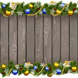 Vector Seamless Christmas Old Board with Golden Beads