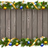 Vector Seamless Christmas Old Board with Golden Ribbon