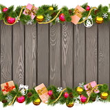 Vector Seamless Christmas Border with Gifts on Old Board