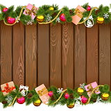 Vector Seamless Christmas Border with Gifts on Wooden Board