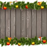 Vector Seamless Christmas Border with Lollipop on Old Board