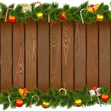 Vector Seamless Christmas Border with Lollipop on Wooden Board