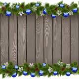 Vector Seamless Christmas Old Board with Blue Balls