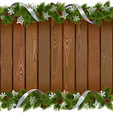 Vector Seamless Christmas Board with Paper Snowflakes