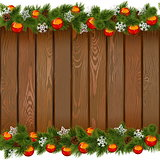 Vector Seamless Christmas Board with Red Balls