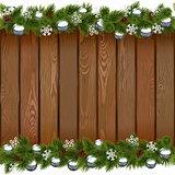 Vector Seamless Christmas Board with Silver Balls