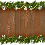 Vector Seamless Christmas Board with Paper Decorations