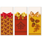 Vector Autumn Knitted Banners Set 1