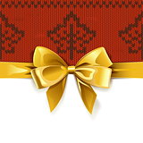 Vector Gift Bow with Autumn Knitted Pattern 1