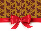 Vector Gift Bow with Autumn Knitted Pattern 2