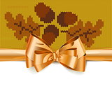 Vector Gift Bow with Autumn Knitted Pattern 3