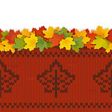 Vector Maple Leaves with Autumn Knitted Pattern 2