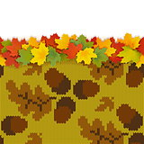 Vector Maple Leaves with Autumn Knitted Pattern 3