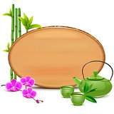Vector Wooden Board with Green Teapot