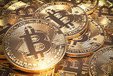 Bitcoins hepa. Golden virtual currency coins background..