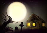 Halloween gloomy night landscape. Big full moon in sky. House with glow windows, tree and cemetery