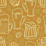 Beer seamless pattern. Vector background.