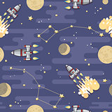 Cartoon  Space rocket, planet and moon. Vector seamless pattern.