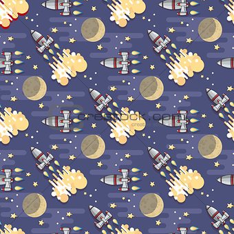 Cartoon  Space rocket. Vector celestial seamless pattern.
