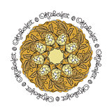 Oktoberfest card. Vector mandala with hop floral ornament.
